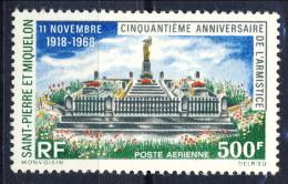 S. Pierre Et Miquelon Posta Aerea 1968 N. 42 Fr 500 Anniversario Dell'armistizio MVLH Catalogo € 30,50 - Posta Aerea