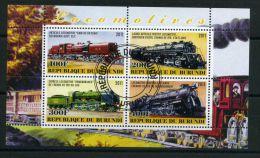 BURUNDI ( MINI-FEUILLET 2011 ) : LOCOMOTIVE , FEUILLET  DE  QUATRE  TIMBRES  OBLITERES , A VOIR .