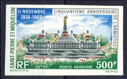S. Pierre Et Miquelon Posta Aerea 1968 N. 42 Fr 500 Anniversario Dell'armistizio MNH GO NON DENTELLATO Catalogo € 70 - Posta Aerea
