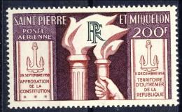 S. Pierre Et Miquelon Posta Aerea 1959 N. 26 Fr 200 Costituzione MNH Catalogo € 19 - Posta Aerea