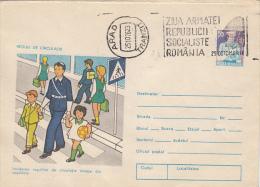 39576- TRAFFIC REGULATIONS, CHILDRENS, POLICE, COVER STATIONERY, 1976, ROMANIA - Police - Gendarmerie