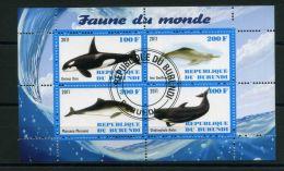 BURUNDI ( MINI-FEUILLET 2011 ) : FAUNE  DU  MONDE , FEUILLET  DE  QUATRE  TIMBRES  OBLITERES , A VOIR .