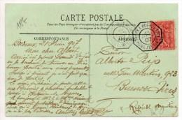 "1907 - CP Avec CACHET POSTE MARITIME ""BORDEAUX A BUENOS AYRES 1°"" - Postmark Collection (Covers)"
