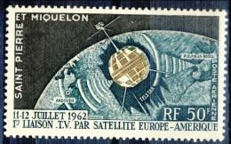 S. Pierre Et Miquelon Posta Aerea 1962 N. 29 Fr 50 Telecomunicazioni Spaziali MNH Catalogo € 8 - Posta Aerea