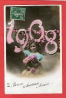 Jolie Petite Fille - Bonne Année  1908 - - Enfants