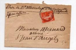1908 - PETITE ENVELOPPE PAPIERS D'AFFAIRES De SAINT HILAIRE DE VILLEFRANCHE (CHARENTE MARITIME) - Marcophilie (Lettres)
