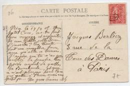 1909 - CP Avec OBLITERATION DE FACTEUR / OBLITERATION DE FORTUNE - SEMEUSE LIGNEE - Marcophilie (Lettres)