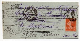 1916 - LETTRE Avec MECA De NANTES Pour MACHECOUL (LOIRE ATLANTIQUE) -> REEXPEDIEE à PARIS - SEMEUSE - Marcophilie (Lettres)