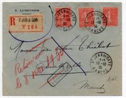 1930 - ENVELOPPE RECOMMANDEE De SAINT JEAN DE DAYE (MANCHE) -> REEXPEDIEE - SEMEUSE LIGNEE - Marcophilie (Lettres)