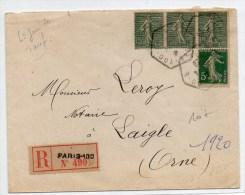 1920 - ENVELOPPE RECOMMANDEE De PARIS 100 Avec BANDE X3 SEMEUSE LIGNEE - Marcophilie (Lettres)