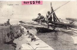 Sardegna-cagliari Porto Veduta Primo Piano Pescatori Barche Primissimi 900 - Cagliari