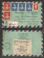 DUTCH INDIES. Cartas. 1948 (7 Oct). Batavia - C - Brazil, Corupa, Sta Catharina (17 Oct). Reg Air Fast Tripmultifkd E... - Netherlands Indies