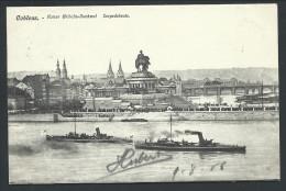 CPA - Allemagne - COBLENCE - KOBLENZ - Kaiser Wilhelm Denkmal - Torpedoboote  // - Koblenz