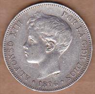 Espagne. 5 PESETAS 1896 PG.V. ALFONSO XIII. ARGENT - Premières Frappes