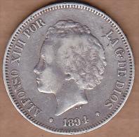 Espagne. 5 PESETAS 1894 PG.V. ALFONSO XIII. ARGENT - Premières Frappes