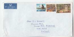 1980 Air Mail ZAMBIA COVER Stamps 2n EAGLE BIRD 10n Ovpt 3n DANCE 15n MONUMENT  To GB Dancing Birds - Zambie (1965-...)