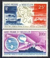 S. Pierre Et Miquelon Posta Aerea 1967 Serie N. 38-39 Viaggio De Gaulle MVLH Catalogo € 77,80 - Posta Aerea
