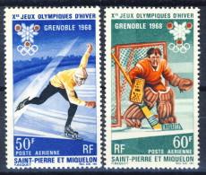 S. Pierre Et Miquelon Posta Aerea 1968 Serie N.  40-41 Giochi D'Inverno MNH Catalogo € 25,30 - Posta Aerea