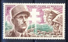 S. Pierre Et Miquelon Posta Aerea 1972 N. 53 F. 100 Géneral De Gaulle MNH Catalogo € 38 - Posta Aerea