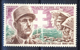 S. Pierre Et Miquelon Posta Aerea 1972 N. 53 F. 100 Géneral De Gaulle MLH Catalogo € 38 - Posta Aerea