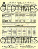 GERMANY - NORD DEUTSCHER LLOYD BREMER - SOUTH AMERICA LINES - DEPARTURES AND PRICES - 1933 PRINT - World