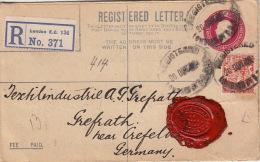 Lettre Recommandé Entier CaD Londres Pour Crefeld 1922 >> Timbre Perforé - 1902-1951 (Rois)