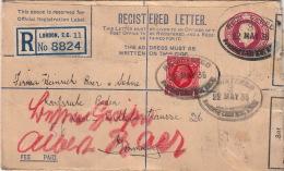 Lettre Recommandé Entier CaD Londres Pour Baden 1936 - 1902-1951 (Rois)