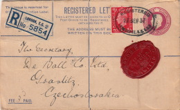 Lettre Recommandé Entier CaD Londres Pour La Tchécoslovaquie 1937 - 1902-1951 (Rois)