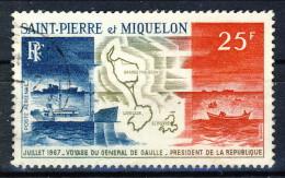 S. Pierre Et Miquelon Posta Aerea 1967 N. 38 Fr 25 Viaggio Di De Gaulle USATO Catalogo € 18,50 - Posta Aerea