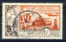 S. Pierre Et Miquelon Posta Aerea 1954 N. 22 Fr 15 Sbarco In Normandia USATO Catalogo € 15 - Posta Aerea