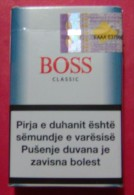 BOSS CLASSIC EMPTY HARD PACK SLOVENIA CIGARETTES KOSOVO EDITION WITH FISCAL REVENUE STAMP. - Boites à Tabac Vides