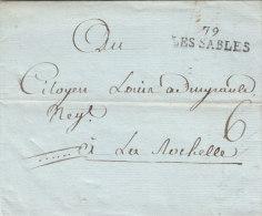 """France 1793 Entier 79 LES SABLES Pour La Rochelle, Nouveau Cachet De 1792, """"6"""" Sous (o71) - Storia Postale"""