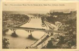HUY - Vue Panoramique, Meuse, Pont Du Chemin De Fer, Vieux Pont, Collégiale, Citadelle - Huy