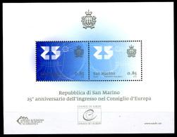 2013 - SAN MARINO - SAINT-MARIN -  25° Anniversario Dell'ingresso Di San Marino Nel Consiglio D'-   NH - (**) - New Mint - Blocchi & Foglietti