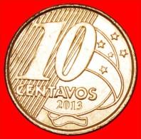 § HORSE AND SOUTHERN CROSS: BRAZIL★10 CENTAVOS 2013! MINT LUSTER! LOW START★NO RESERVE! Pedro I (1798-1834) - Brésil