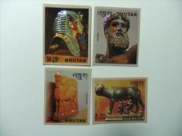 BHUTAN BHOUTAN 1971 Yvert Nº PA 82 /92 ** HISTOIRE DE LA SCULPURE AUTOCOLLANT NON DENTELES - Sculpture