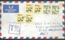 ! - Ouganda - 6 Timbres + Cachet De Taxe Sur Enveloppe - Envoi Par Avion De Mbarara Vers Huy (Liège) (1972) - Ouganda (1962-...)