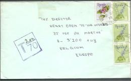 ! - Ouganda - 4 Timbres + Cachet De Taxe Sur Enveloppe - Envoi Par Avion De Mbarara Vers Huy (Liège) (1972) - Ouganda (1962-...)