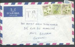 ! - Ouganda - 3 Timbres + Cachet De Taxe Sur Enveloppe - Envoi Par Avion Vers Huy (Belgique) - Ouganda (1962-...)