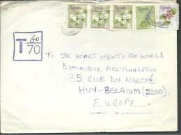 ! - Ouganda - 5 Timbres + Cachet De Taxe Sur Enveloppe - Envoi Par Avion Vers Huy (LBelgique) - Ouganda (1962-...)