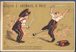Chromo Doré Or E Gremaud Dole Jura Litho Testu & Massin Série 227 1 Duel Coup Malheureux Humour Barbanchu Nez Majestueux - Chromos