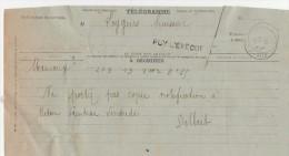 Griffe Et Cachet PUY L'EVËQUE Lot 9/4/1914 Sur Télégramme  De Mauroux - France