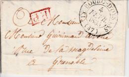 MARQUE POSTALE LAC 37 BOURG D´OYSANS A GRENOBLE 4 FEVR 1835 PP ROUGE - 1801-1848: Precursors XIX