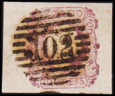 1855. Pedro V. 100 REIS. Exceptional Broad Stamp Cancelled 102. Small Thin Spot.  (Michel: 8) - JF193189 - 1853 : D.Maria