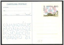 Italia/Italie/Italy: Intero, Stationery, Entier, Mondiali Di Scacchi, World Chess, Monde D'échecs - Scacchi