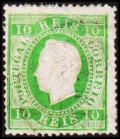 1880. Luis I. 10 REIS Perforated 12½. Yellow-green. Tear. (Michel: 47bB) - JF193337 - 1853 : D.Maria