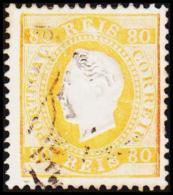 1871. Luis I. 80 REIS Perforated 12½. Orangeyellow. (Michel: 40ybB) - JF193347 - 1853 : D.Maria