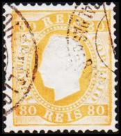 1871. Luis I. 80 REIS Perforated 12½. Orangeyellow. (Michel: 40ybB) - JF193344 - 1853 : D.Maria