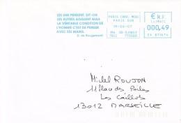 Paris Cherche Midi-19/06/2007-Denis De Rougemont , écrivain Suisse ´´  De L´homme C´est De Penser Avec Ses Mains - Postmark Collection (Covers)