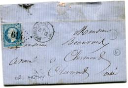 BRETEUIL SUR NOYE Oise CAD Type 15 Du 19.11.1863 + GC 614 Sur N° 22 + OR (HECHY)  ....G - Marcophilie (Lettres)